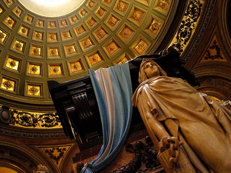 Place of Honor, Buenos Aires - San Martin rests under the cathedral's great dome, his tomb draped in Argentina's national flag. He liberated both Argentina and Chile in the early 19th Century.