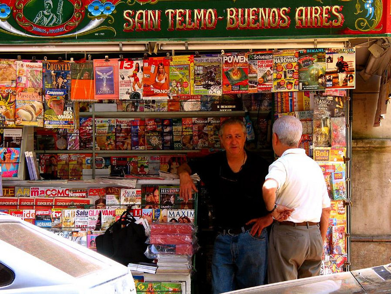 San Telmo Newsstand, Buenos Aires - San Telmo is a community within a community. It has a flavor similar to the Left Bank in Paris. Everybody seems to know everyone else, particularly the fellow who runs the big newsstand on the Plaza Dorrego.
