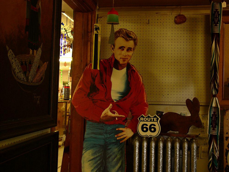 A haunted room at the Jackrabbitt - I stumbled into tiny room just off the trading floor of the Jackrabbitt and found this metal namesake for sale, along with a life sized cardboard cut out of the late actor James Dean.