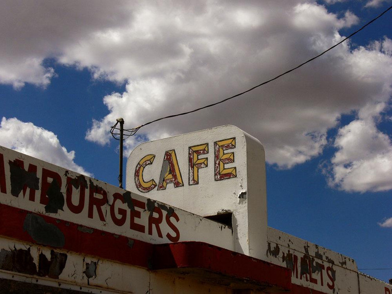 Twin Arrows Cafe - When the old Twin Arrows trading post closed, it sold its last gallon of gas at $1.39 and grilled its last hamburger in this cafe. The elements have already ravaged this trading post east of Flagstaff along old Route 66. The area is also marked by two huge arrows stuck in the ground. They have lost most of their wooden feathers. It is only a matter of months until they collapse.