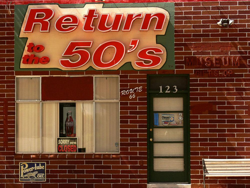"""No going back, at least today - Even though the town was crowded with bus loads of tourists from as far away as Japan, Seligman's """"Return to the 50's"""" museum was closed the day we were there. One can only wonder if this place really exists or is, like so much of Seligman, a nostalgic fantasy."""