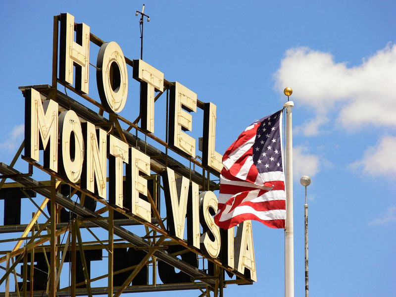 Flagstaff's haunted hotel - Built in 1926, the Monte Vista hotel is said to be home to numerous ghosts. Its massive sign dominates the city, and nearby are a couple of appropriately located flagstaffs.