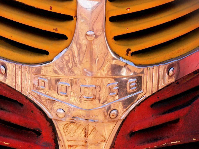 Grille, Dodge truck - This old Dodge truck was parked near the Meteor City trading post. It looked as if its chrome grille had been recently restored. This truck may well have once traveled along Route 66.