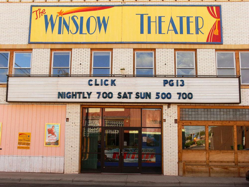 Restored Movie House, Winslow - This theatre was built in 1927, and offered movies and stage performances. It burned in 1955 but was restored and continued showing movies into the 1980s when it was shut down. The owner of the La Posada hotel brought it in 1997 and has reopened it. It only offers one show a day and two on weekends. The nearest multiplex is in Flagstaff, an hour away.