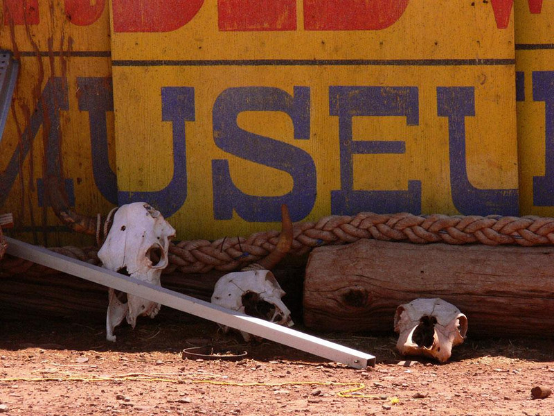 Vanished Museum, Meteor City - At one point during its nearly 70 year run, the Meteor City trading post offered a museum. Today, its signs and skulls are stored within a fence. I shot these relics through a crack in the wall.