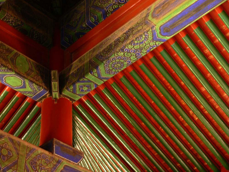 Ceiling, Temple of Heaven - Beijing's Temple of Heaven Complex was built in a 1420 as a vast stage for China's emperors to pray for good harvests. This building features a brilliantly decorated ceiling.