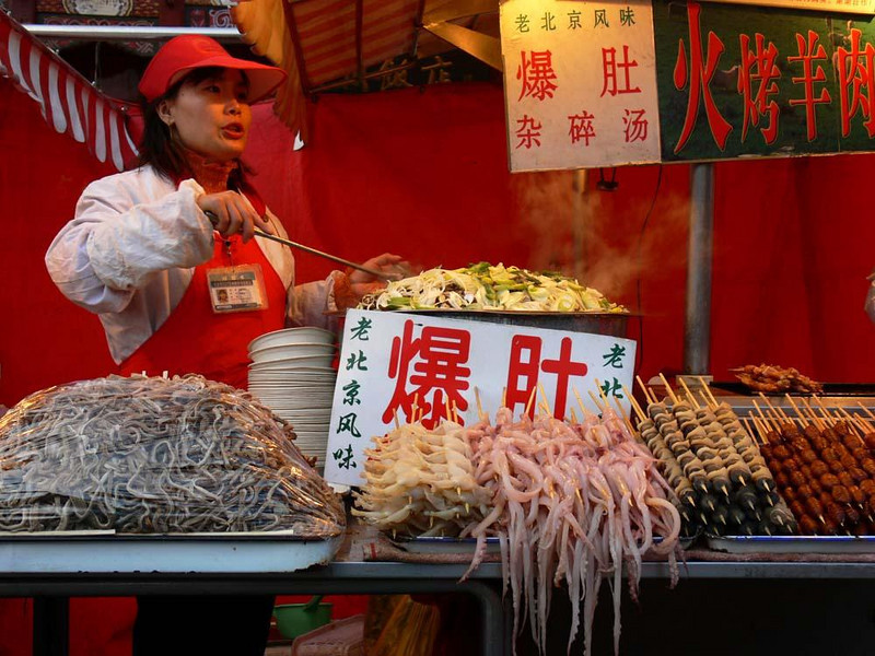 Beijing night market - Beijing's Donghua Yeshi Night Market serves up skewers of seafood and meats