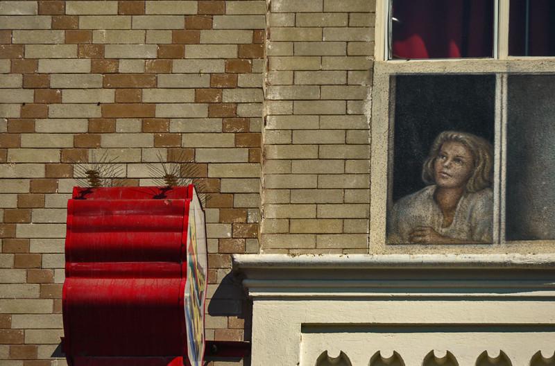 Face in the window, Venice Beach, California