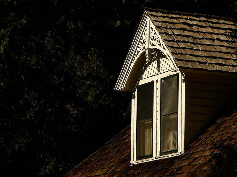Dormer, Wawona Hotel - Wawona focuses on Yosemite's human history. Not far from this old hotel are displays of relocated historic structures.