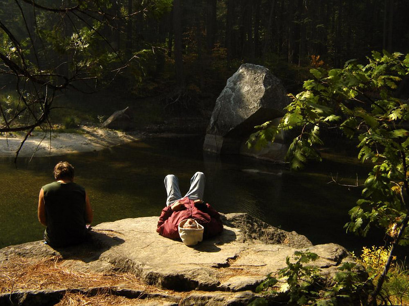 Relaxing on the Merced - A pair of friends leave the chaos of Los Angeles behind to spend a lazy afternoon relaxing on one of the ancient boulders that line the Merced River.