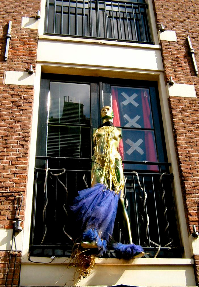 The Party's Over - Window decoration, Amsterdam, the morning after Queens Day.