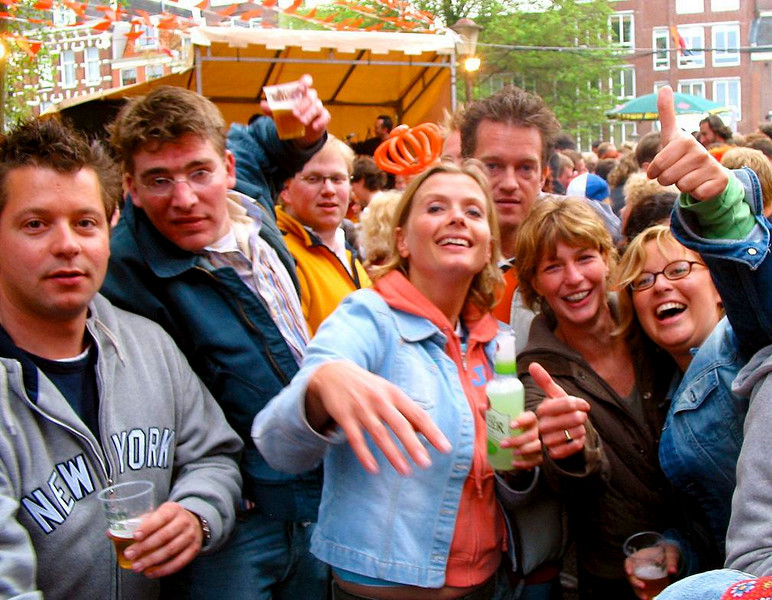 Queens Day Revelry - My digital camera appears to be the hit of this Queens Day block party, at least for the moment.