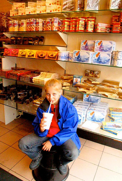 Portrait in an Amsterdam Candy Store - Dutch and Belgian chocolate provide a sweet setting to my portrait of a youthful customer.