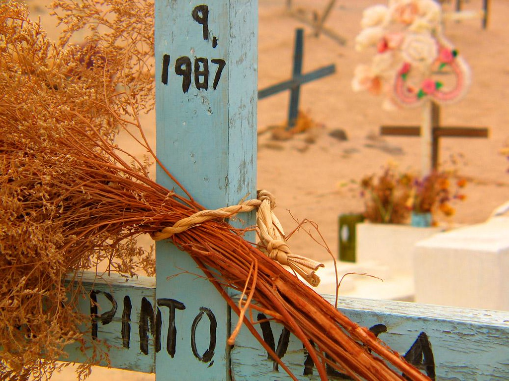 Grave, Poncochile, Chile - Many of the graves in Poncochile's little cemetery bear dried flowers and wreaths. Many are plastic. No plant of any kind can survive here.