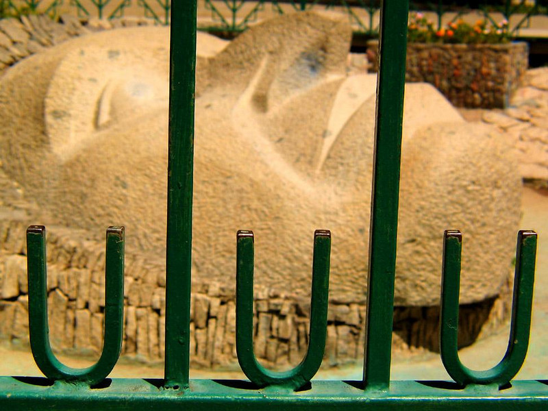 Great Stone Face, Vicuna, Chile - An enormous reclining stone face dominates the center of Vicuna's town plaza.