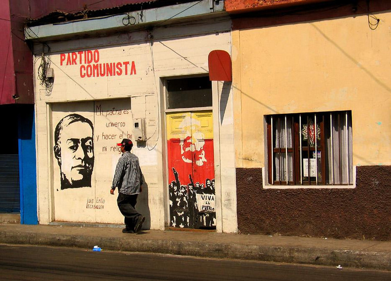 Party HQ, Iquique, Chile - Despite the advertising, it's a slow day for the Communist Party office in Iquique.