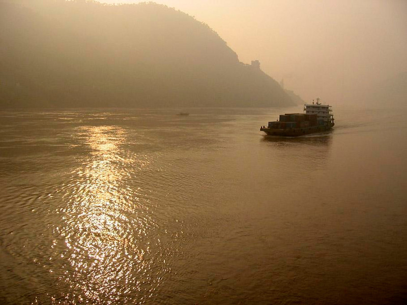 Yangtze sunrise - Freighters ply the Yangtze River, making it one of China's most important transportation corridors.