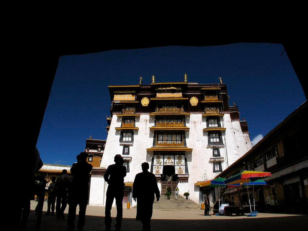 Potala Courtyard, Lahsa - Halfway down from the roof of the Potala is a broad plaza offering rest and refreshment.