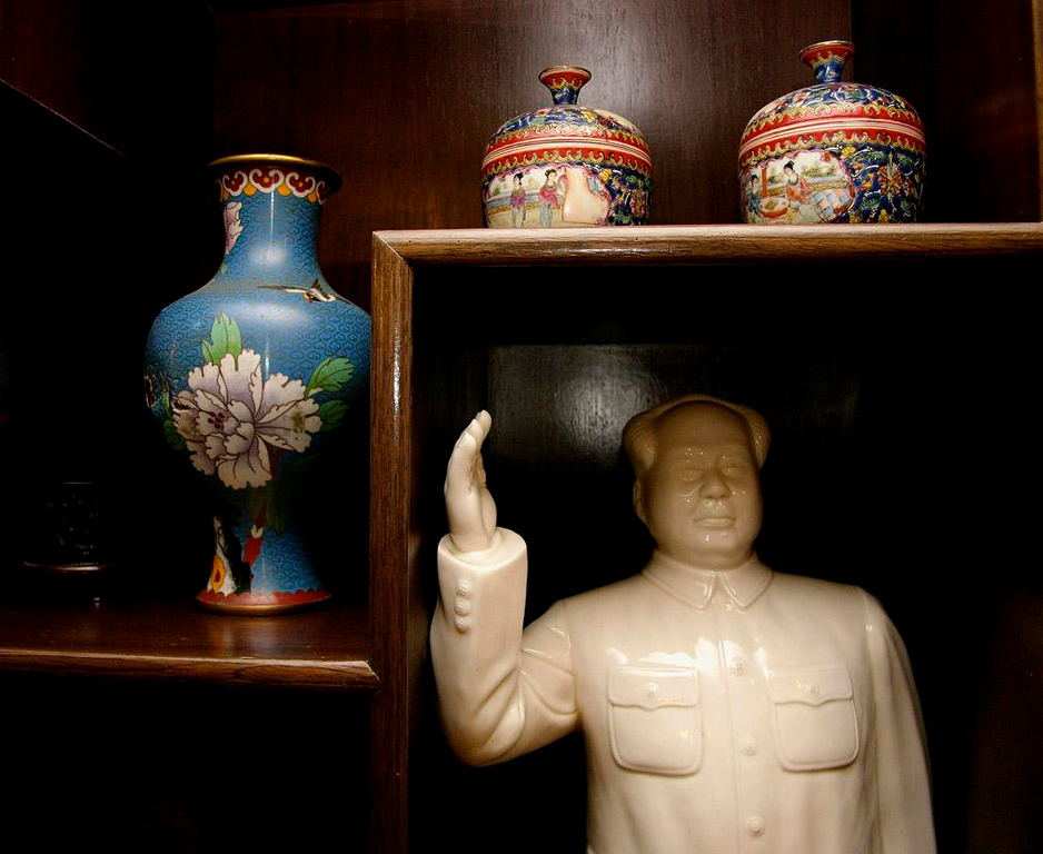 Mao and stuff - We had lunch with a Beijing family, whose home featured a porcelain tribute to Mao displayed side by side with Chinese ceramics of a less political nature.