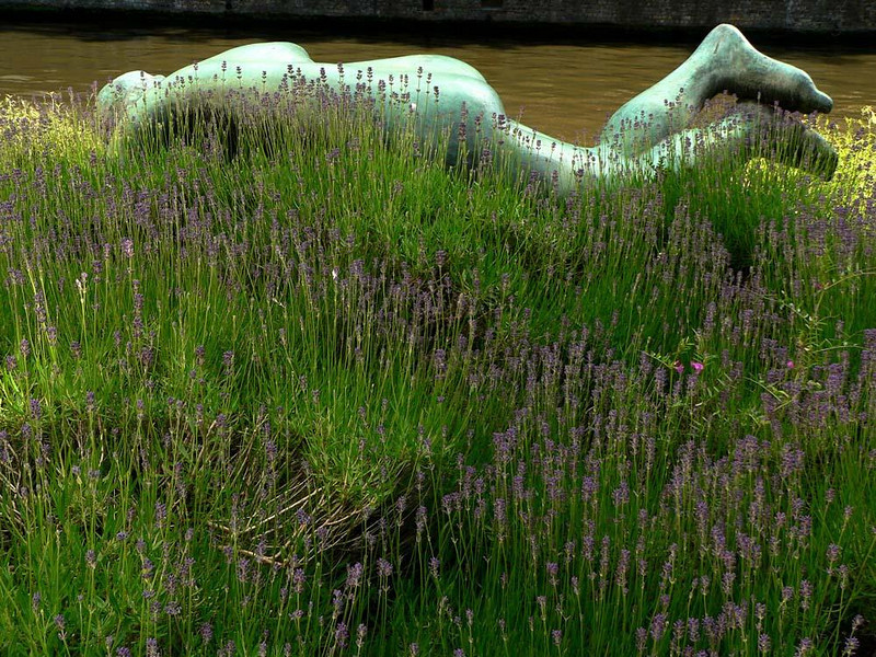 Sleeping nude, Bruges - In a city replete with medieval art, is was refreshing to come across this contemporary sculpture, lying face down on the bank of a canal. I approached it from the land side, so I could place it behind a field of green grasses, so rich with life and vitality.