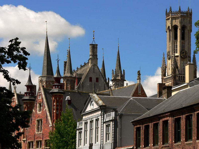 Spires of Bruges - Bruges became one of Europe's most sophisticated cities between the 14th and 16th Centuries, a legacy of its days as the center of the international cloth trade. Its skyline is virtually unchanged.
