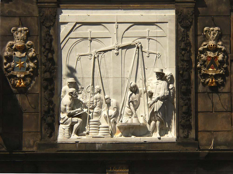 Cheesemaker's Guildhouse at Gouda - The facade of the Cheesemaker's Guildhouse in Gouda features this portrayal of cheese being weighed.