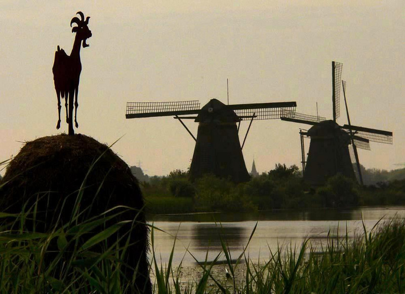 Kinderdijk's Goat - A sculpture of a goat greets visitors to Kinderdijk's historic windmills. The site was added to UNESCO's World Heritage List in 1997.