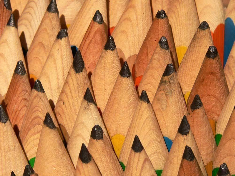 Giant pencils, Waterlooplein - This box of giant pencils looked to me like a stylized mountain range, with black instead of white snow on the peaks.