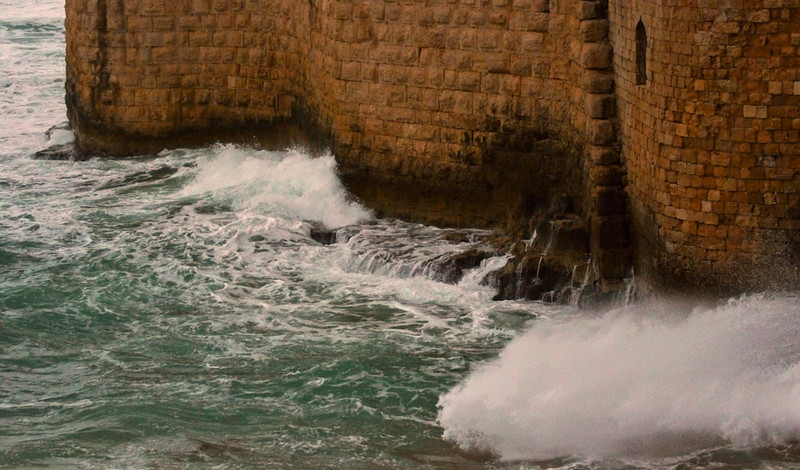 Sea wall, Acre, Israel