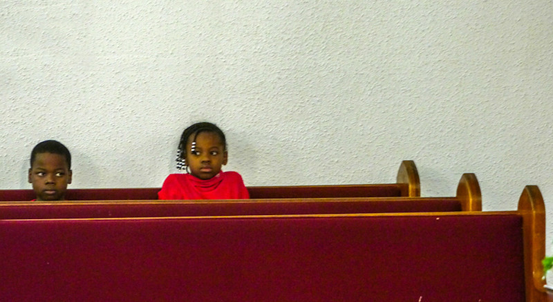 Young listeners, First Baptist Church, West Helena, Arkansas