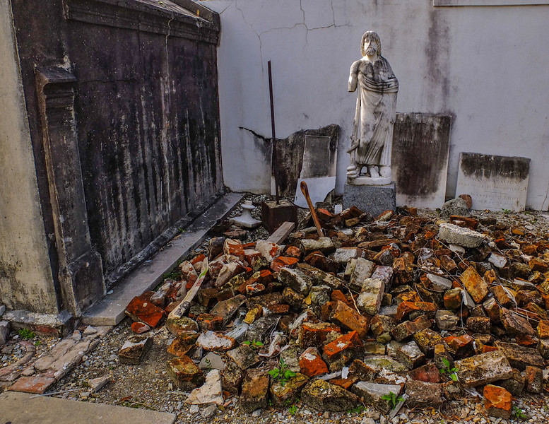 Ruined tomb, St  Louis Cemetery, New Orleans, Louisiana