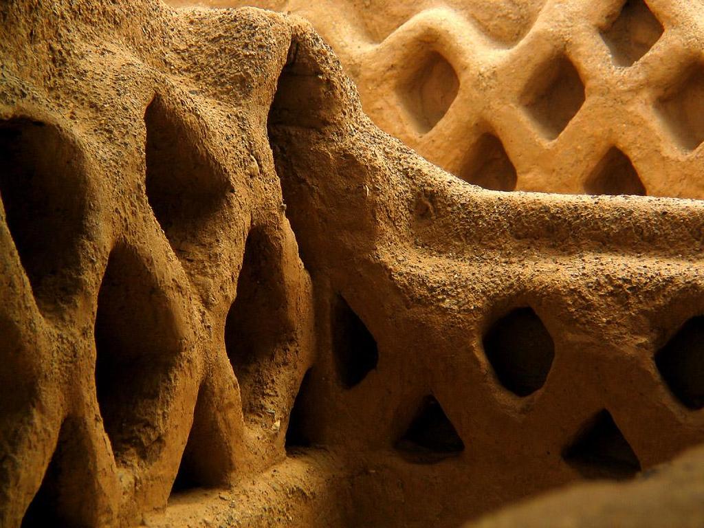 Textures of Chan Chan, Trujillo, Peru - A close up look at the honey-combed adobe walls of ancient Chan Chan.
