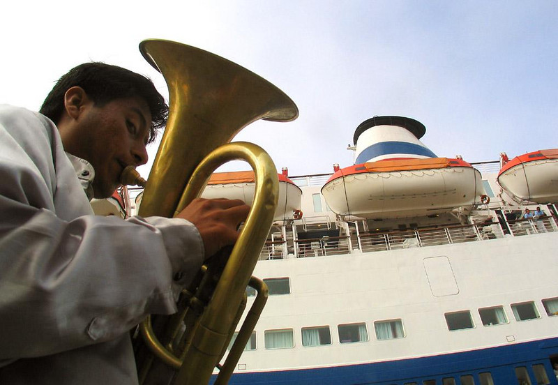 Strike Up the Band! Salaverry, Peru - A Peruvian brass band welcomes passengers off the Marco Polo as they disembark for trips to Trujillo and beyond.