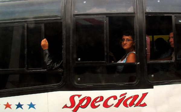 Commuters, Manta, Ecuador - Going places? On this Manta bus, it may take awhile.