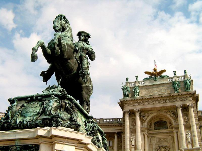 Prince Eugene rides again - Prince Eugene of Savoy drove the Turks from Vienna in 1683, restoring Austria's fortunes. His great statue still gallops in place outside the Hofburg Palace, seat of Austrian power for more than six centuries.