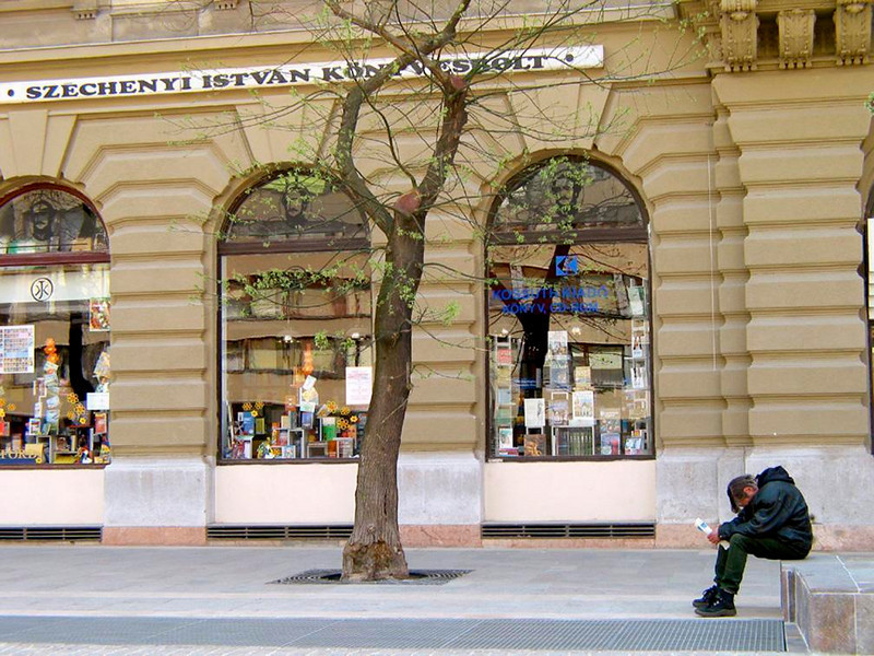 At rest in Budapest - A budding tree, well stocked stores, and a dozing bench dweller line the large plaza facing Budapest's St. Stephens Basilica.