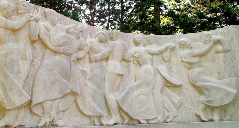 Remembering the Waltz - Dresses swirl to the stately beat of the waltz on this monument to a Viennese musician near the Prater's Hauptallee.