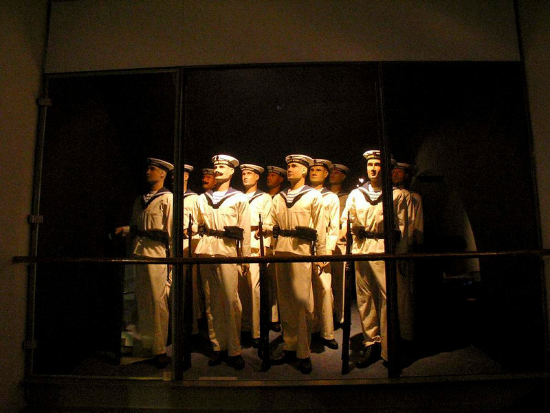 Austrian sailors, 1914-1918 - Looming in the darkness of a display at Vienna's vast military museum, a crew of First World War Austrian sailors seem ready to answer the call to duty. Austria, now a landlocked country, had naval bases on the Adriatic Sea at the time. Its navy also patrolled the Danube River.