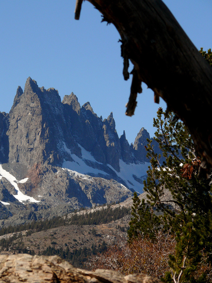 The Minaretes, Mammoth Lake - The jagged peaks of a mountain known as The Minaretes are a landmark at the ski resort of Mammoth Lake.