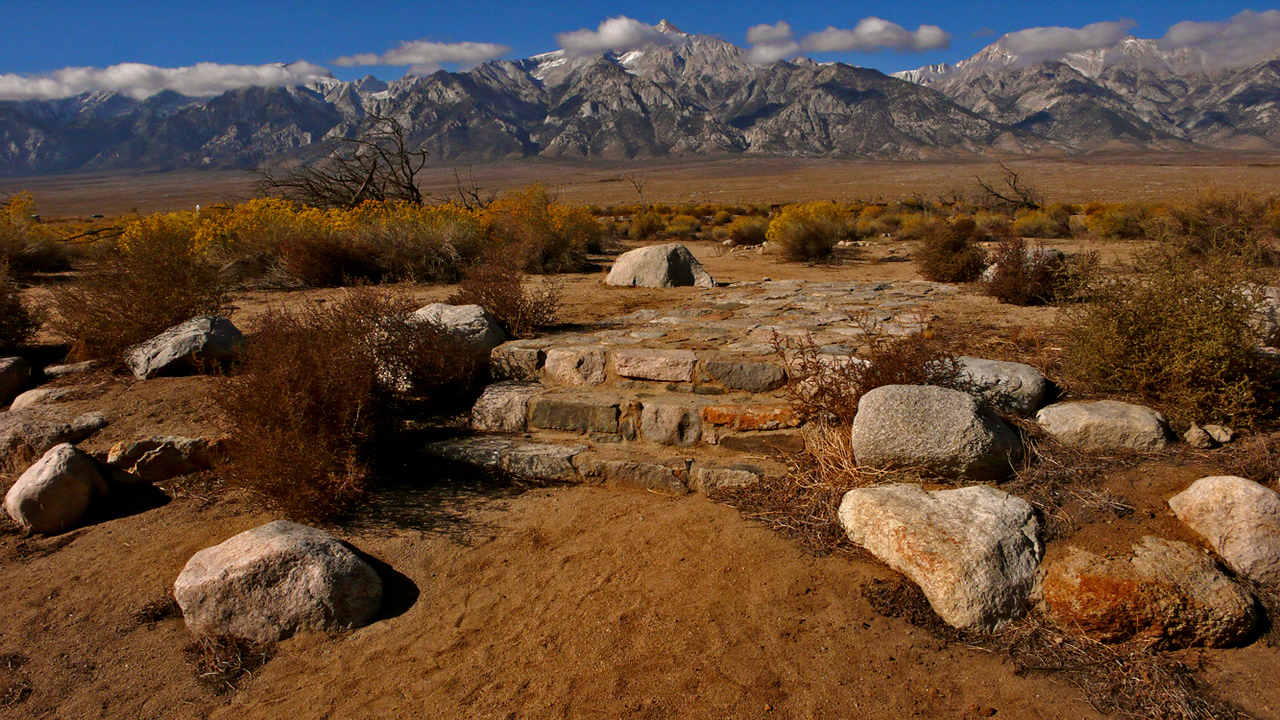 Hospital Ruins, Manazanar - Some steps are all that is left of the hospital that served Japanese-American internees at Manzanar during World War II.