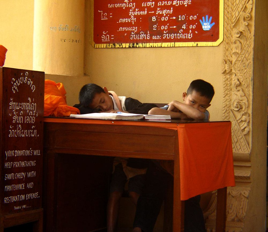 Nodding off, Luang Prabang - I was not sure if these young boys were supposed to be collecting donations or studying their lessons, but one of them is dozing and the other is not far behind. A few moments after I made this photograph, a monk's command sent them scurrying.
