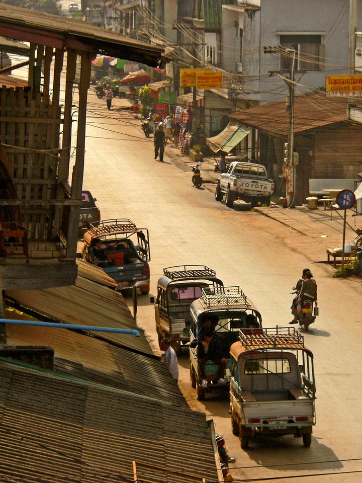 Main Street, Huay Xai - Watching the traffic from the balcony of our old hotel.