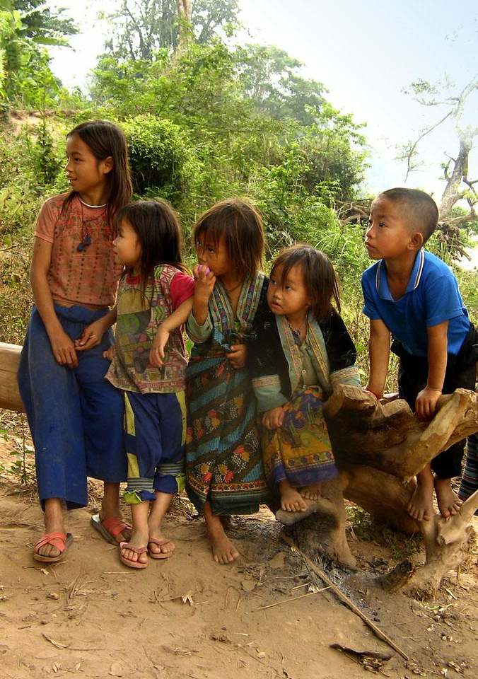 Hmong children, near Pak Beng - Large groups of Hmong children greeted us in the dusty river villages along the Mekong.