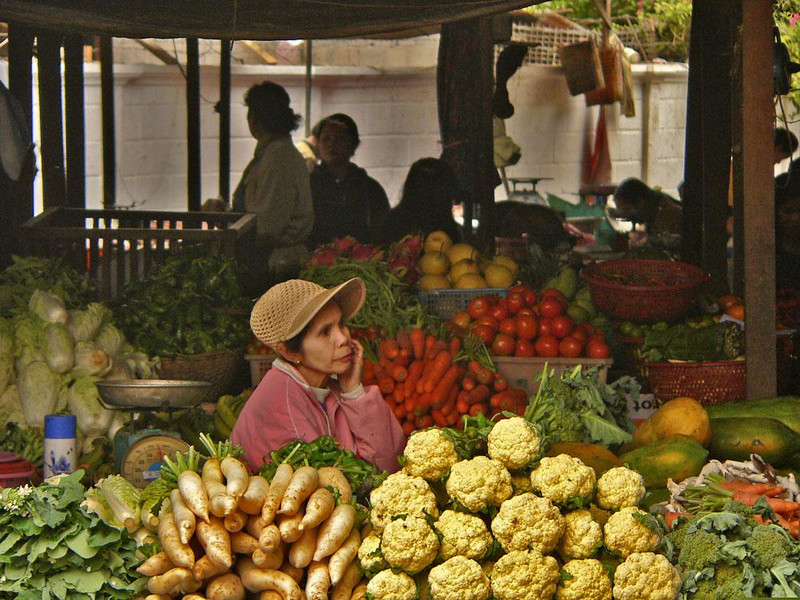 Patience, Luang Prabang Market - Some days the veggies sell quickly. Today they are not moving. This vendor takes it all in stride.