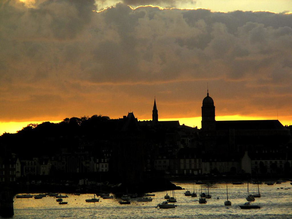 Dawn, St. Malo, France - St. Malo is built on a rocky island joined to the shore by a strip of land. Due to its strategic position, it was heavily bombed by the Allies in World War II. Its buildings, dating from the 1950s, are replicas of the originals.