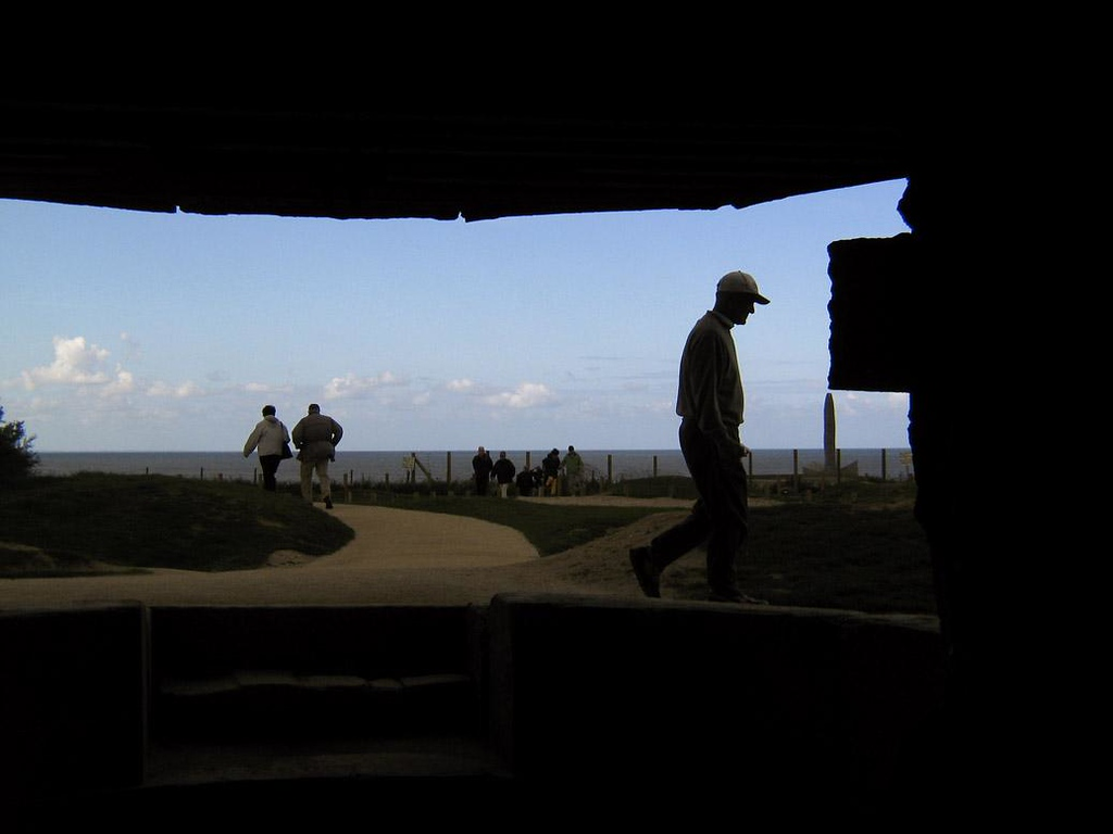 View from German Bunker, Pointe du Hoc - German spotters peered through this Bunker window at attacking American Rangers on June 6, 1944. Although these bunkers had been heavily bombed and shelled before the invasion began, German artillery was still firing down from Pointe du Hock onto Omaha Beach. It had to be silenced.
