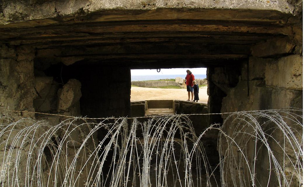 Entrance to German Bunker, Pointe du Hoc - This bunker somehow survived the furious American bombardment, but its occupants were either killed or captured by a few hundred US Rangers who scaled the cliff and took the German positions in one of D-Days most heroic acts.