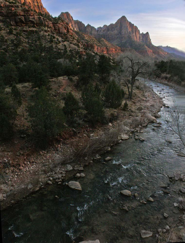 Zion Riverscape - Day's end brings soft light to the Virgin River and the red rocks that line its course.