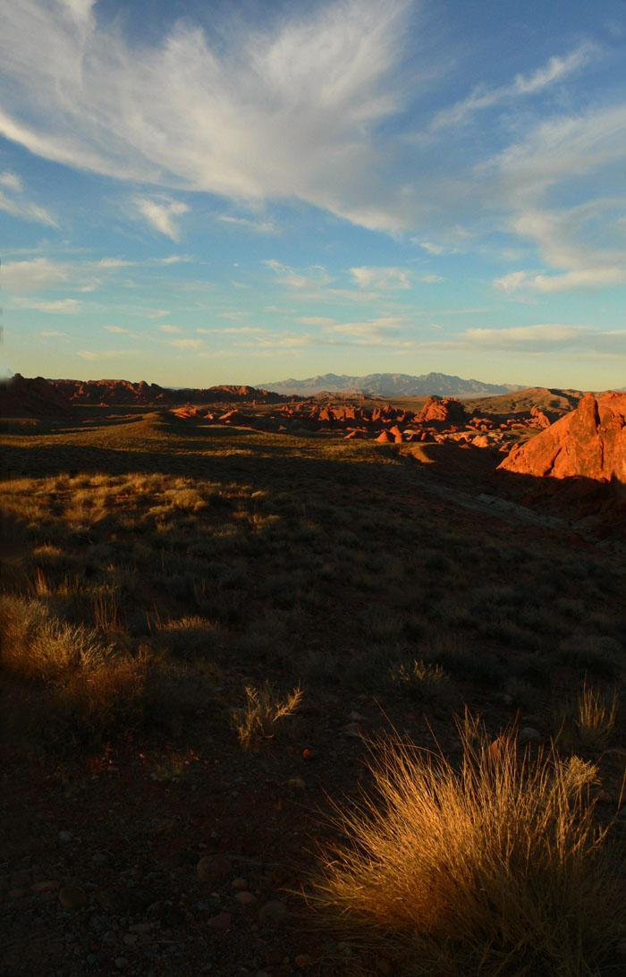 Heaven and Earth, Valley of Fire Park - A wideangle view of the red sandstone formations that give Valley of Fire its name.