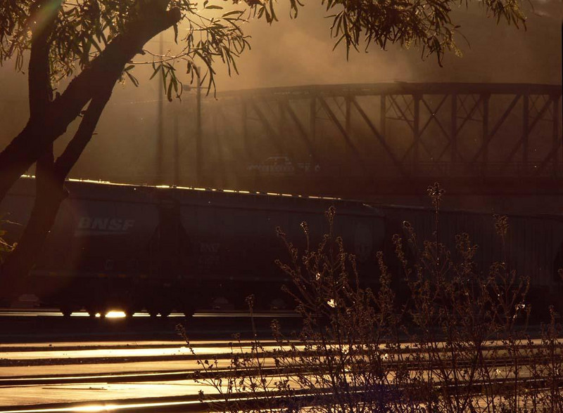 Rail hub at Barstow - Barstow is still a major hub for freight trains. I caught this freight in a blaze of setting sun as it rumbled below a bridge leading to Barstow's historic depot.